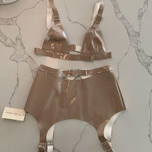For love & Lemons Nude high roller garter belt set